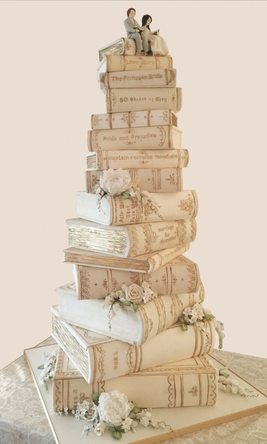 Personalised Wedding Cake - Stacked Books