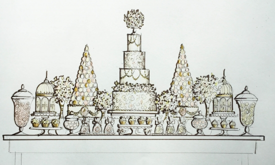 Wedding Dessert Table Sketch