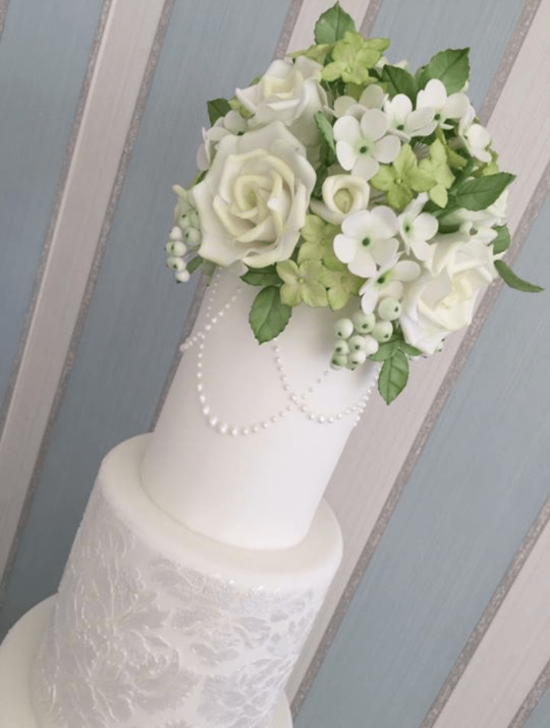 Pearl Detail Wedding Cake