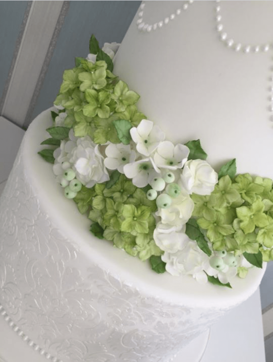 Flowers and foliage wedding cake