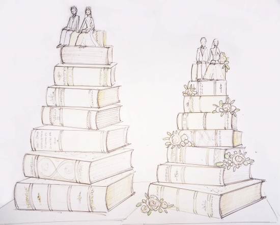Personalised Wedding Cake Sketch